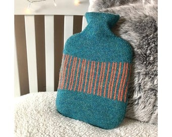 Teal Jaffa Stripe Design Hot Water Bottle Cover Knitted in Supersoft Lambswool