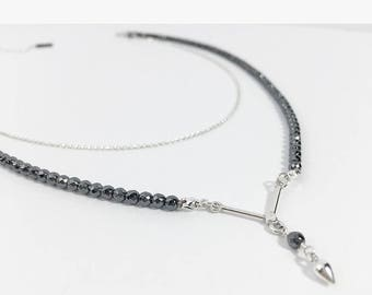 Double Hematite V Necklace