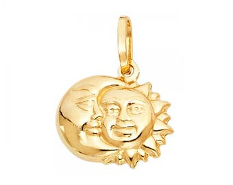 14K Solid Yellow Gold Sun Moon Pendant - Crescent Polished Necklace Charm