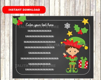 Elf Kisses Thank You Notes Kids - Gifts - childrens - notecards - Thank You Cards - TYPE Your Own Text - Editable