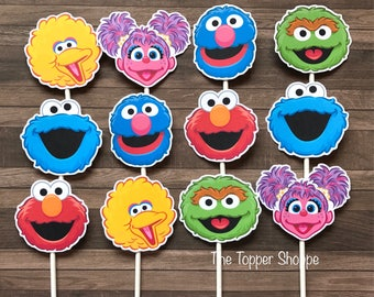 SESAME STREET Cupcake Toppers / Cake Toppers / Die Cuts / Birthday Party / Decorations / Cake Pops / Supplies / Decor / Fast Shipping