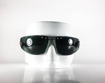 CELINE Vintage Sunglasses Unisex Gray Wrap 2000 CELS80Q-1