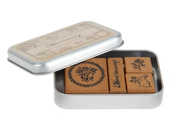 "Wooden and rubber stamps 4 piece set ""merci beaucoup"""