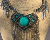 Turquoise Necklace / Statement Necklace / Tribal Necklace / Gift for her / Tribal Necklace / Statement Jewelry/ Tribal Jewelry / Boho
