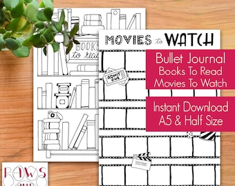 PRINTABLE Bullet Journal Kit • Hand Drawn • Books To Read, Movies To Watch • Books, Movies • Planner Stickers • A5 Inserts • Two Page Bundle