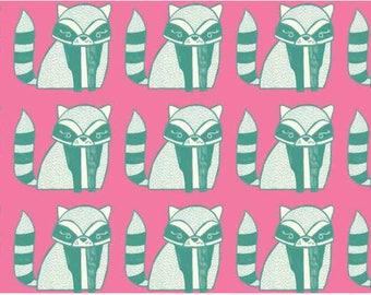 American Cotton - Blend Fabrics designer Katy Tanis little raccoons pink - by 50 cm (110 x)
