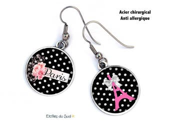 Paris Eiffel Tower earrings black white dots, brackets steel surgical