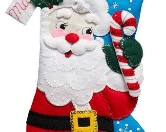 Bucilla 18-Inch Christmas Stocking Felt Appliqué Kit, 86861 Hello Santa