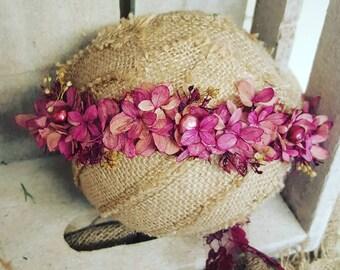Preserved pink hydrangea halo