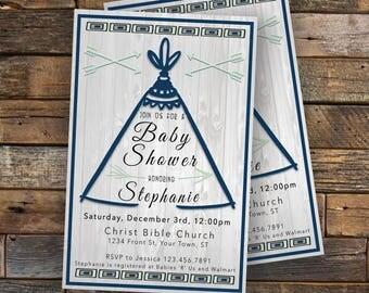 Tribal Baby Shower Invitation- Custom Digital Download