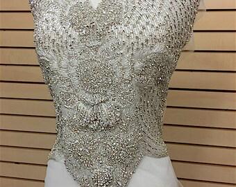 Designer Full body Rhinestone Applique, Beaded Wedding Dress Applique. Swarovski Shine Silver, Czech Crystal # 81188