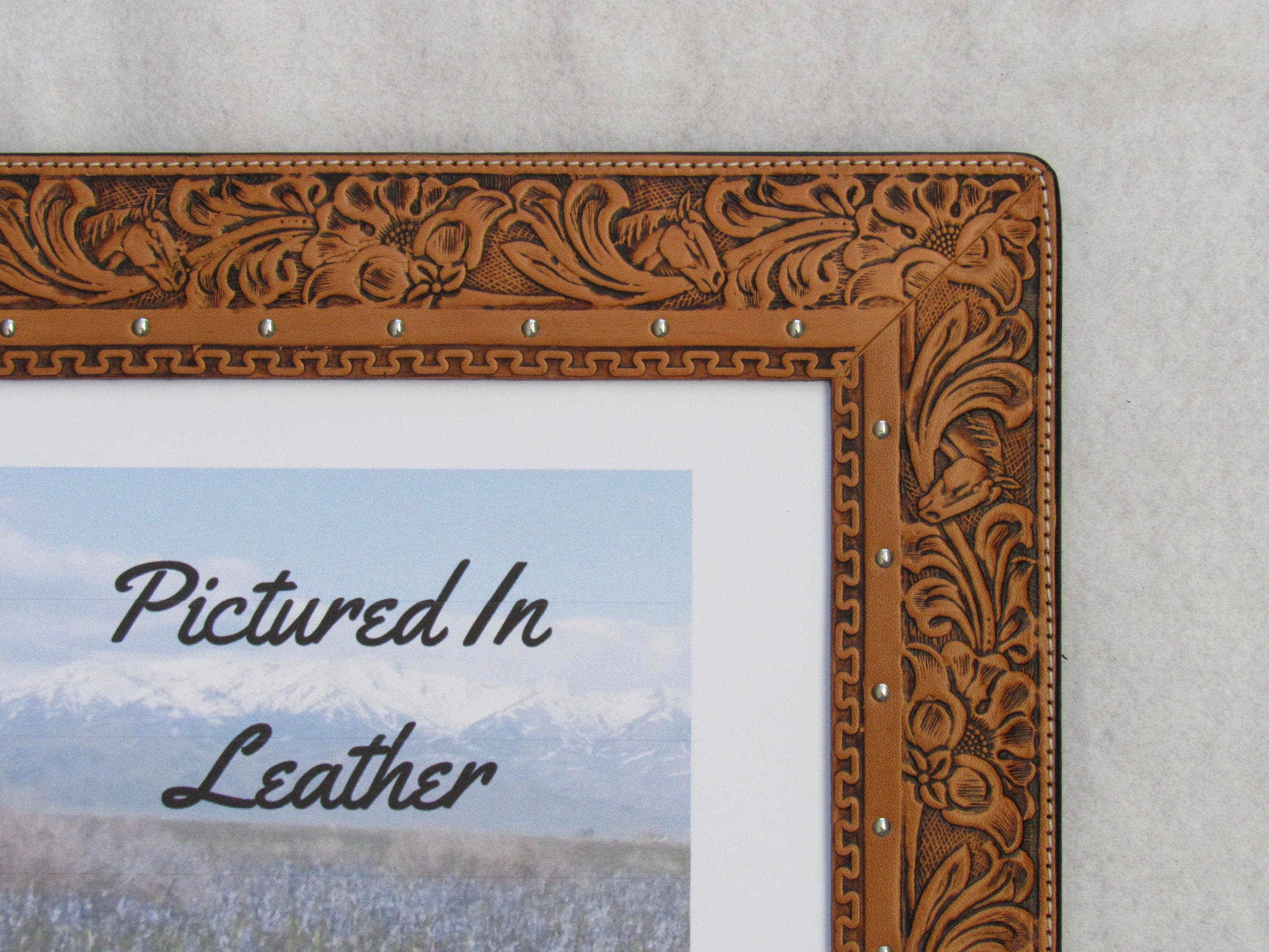 8x10 leather picture frame embossed horse and floral leather shipping jeuxipadfo Image collections
