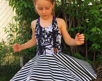 Dress - Star Wars - Darth Vader - black and white - blue or turquoise - 12 M / 14t