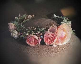 Rustic baby/child/adult Flower Crown Halo for Photo Shoots! Photo prop/Birthdays!