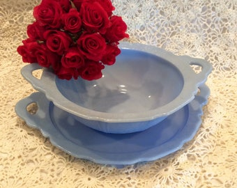 Blue Delphine Serving Bowl and Platter/Tray