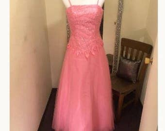 Pink Formal Dress, Beaded Dress, Evening Gown, Prom Dress, Special Occasion dress, Homecoming Dress