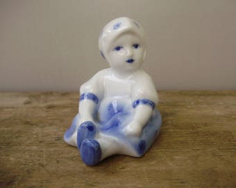Vintage  Hungarian,Zsolnay porcelain child figurine,little girl,handpainted,blue and white porcelain,stamped