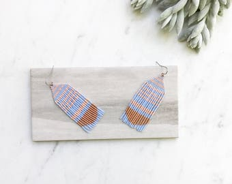 Boho Tassel Earrings, Californian Style, Boho Earrings, Beaded Fringe Earrings