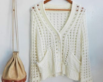 1970s White Vintage Cardigan // White Knitted Cardigan