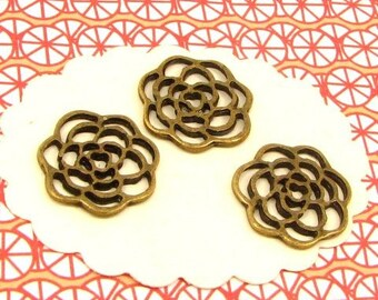 6 charms BB73 bronze openwork flowers
