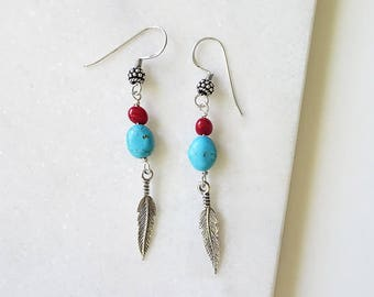 Beyond Dreams - Bohemian Feather Antiqued Sterling Silver Earrings