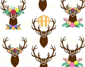 60 % OFF, Fall SVG, Deer Antler Svg, Autumn SVG Files, Antler Flower svg, Floral Fall Antlers Silhouette svg, dxf, ai, eps, png,