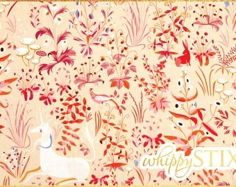 Unicorn Fabric By the Yard, The Lovely Hunt Lizzy House Andover Fabrics 7977 Cotton Quilting Fabric BTY Peach Pink The Hit Parade Collection