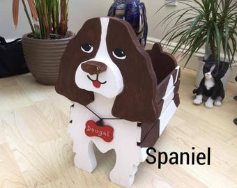 SPRINGER SPANIEL,wooden,garden,planter,ornament,decoration,name tag,custom made,