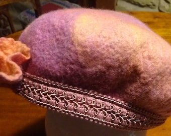 Beret felted in Spring colours of pink and apricot