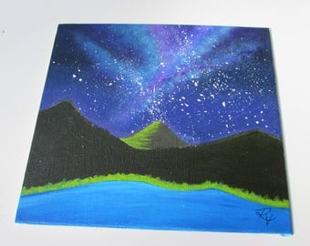 Mini mountain galaxy painting