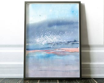 ORIGINAL Large Watercolor Abstract painting, landscape abstract watercolor, original abstract painting, original watercolor painting,blue