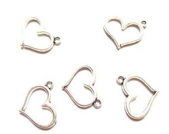 10 pendants heart antique silver, 16 x 12.5 mm