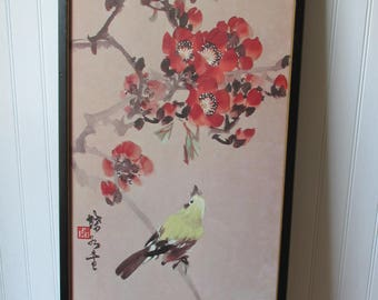Vintage Asian Bird Bloom Blossom Framed Watercolor Red Artist Seal Pale Pink