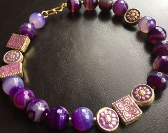 SOLD: Beautiful purple bead choker with charming accents (Anya 11)