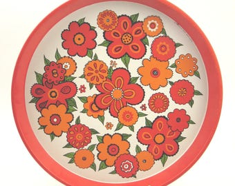 "Vintage 70s metal tray with ""Flower Power"" decor, Top condition !!!"