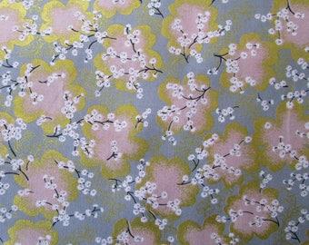 coupon 50 x 55 cm fabric Japanese sakura or cherry - grey