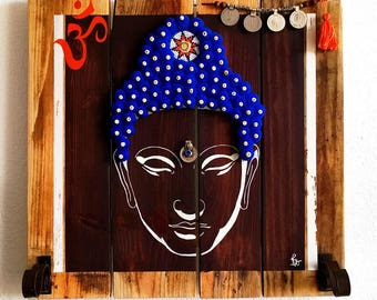 TABLEAU wood decor Buddha Namaste coat rack head