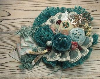 Flower fabric brooch Boho brooch  Flower pin Textile pin Velours Flower brooch Handmade brooch Vintage brooch Textile brooch Mother gift