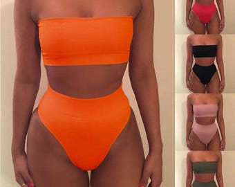 MIACOVA Bikini Set / bandeau high-waisted leg tight stretch bikini two piece shapewear / uk fashion 2017 / orange black pink khaki white red