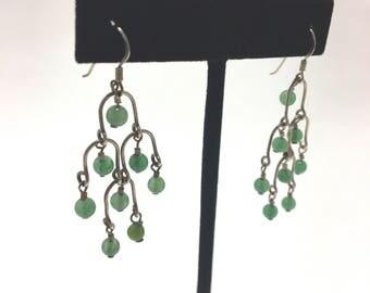 Vintage Sterling Silver Jade Chandelier Earrings Free Shipping in US