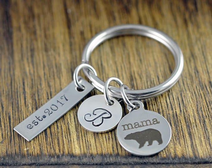New Mom Gift - Mama Bear Keychain - Mama Bear Jewelry - Mama Bear Jewelry - Mothers Keychain - Personalized Keychain for Mom