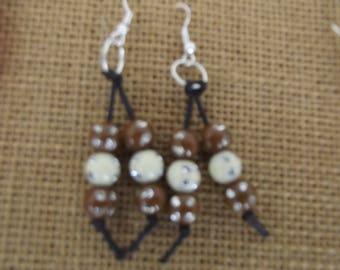 Brown swing earrings