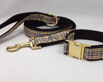 Dog Collar and Leash set - Tartan