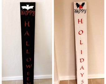 Holday sign front and back happy Halloween and happy holidays