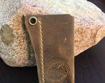 Brown Leather Lighter Case - Tan Stitching