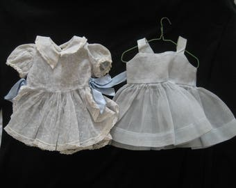 """1950s Vintage TERRI LEE Doll TAGGED 16"""" Organdy Light Shadow Print Blue Dress Two Piece with Matching Slip Outfit Party Dress CLothes"""