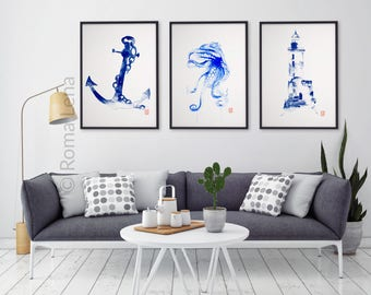 Maritime Wall Art Print Octopus Lighthouse Anchor Home Bathroom Decor  Maritime Poster Watercolor Painting Set 3