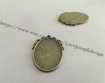 wholesale 50 Pieces /Lot Antique Bronze Plated 18mmx25mm cabochon trays charms (#0249)