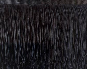 18'' Inch Long Fringe Black Chainette Fringe Price Per Yard