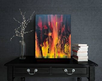 Original Abstract Painting. Original art. Modern art. Fluid painting in orange yellow red black. Abstract Landscape. Wall decor. Home Decor.